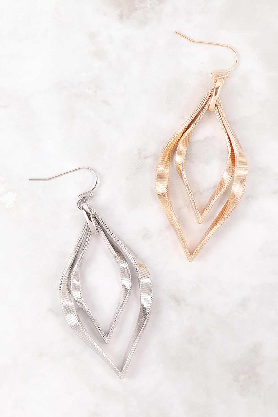 Riah Fashion Twist Textured-Layered-Marquise-Shape-Fish-Hook-Earrings - Front Full Image
