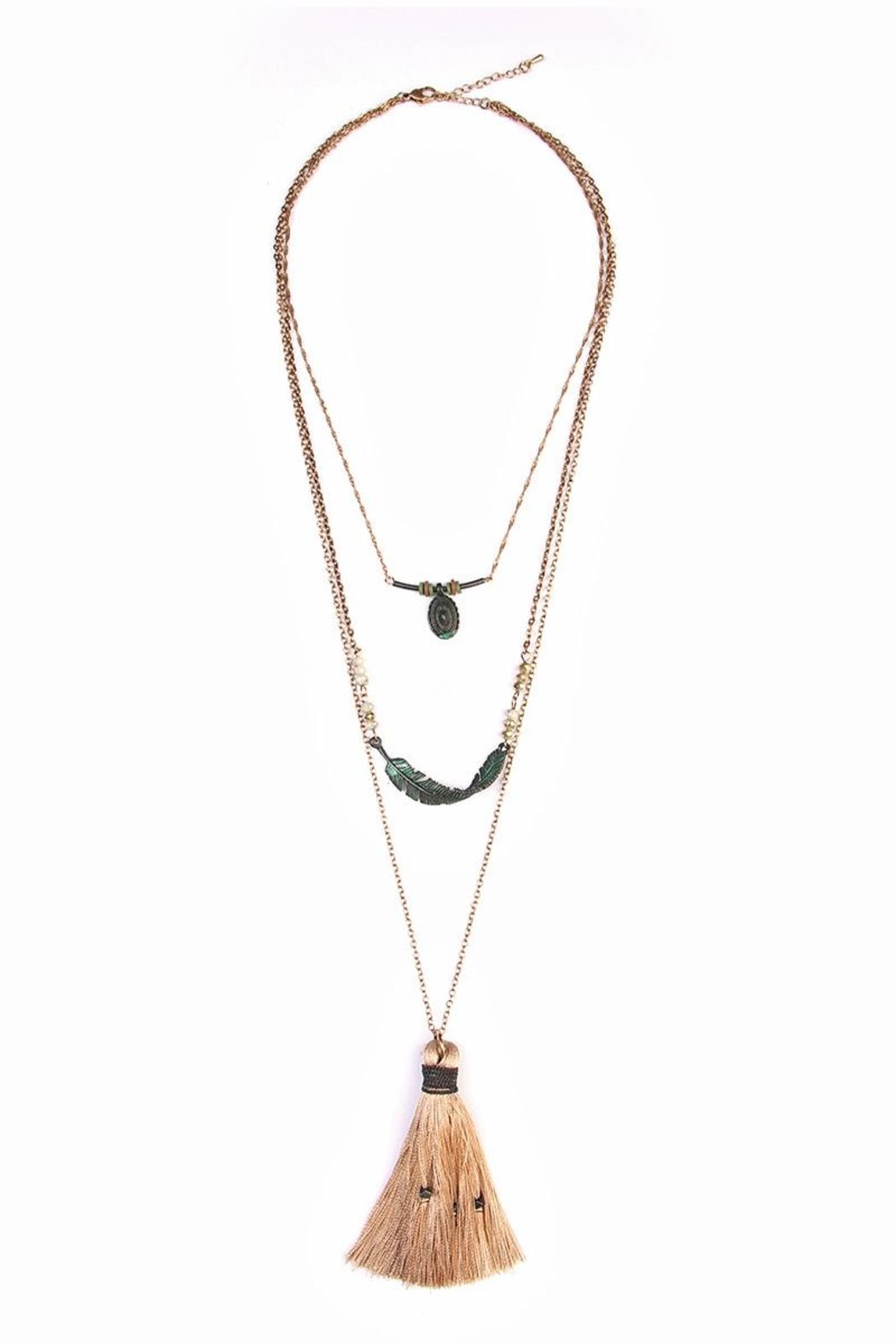 Riah Fashion Twisted Feather Layer Necklace - Main Image