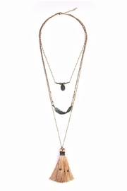 Riah Fashion Twisted Feather Layer Necklace - Front cropped