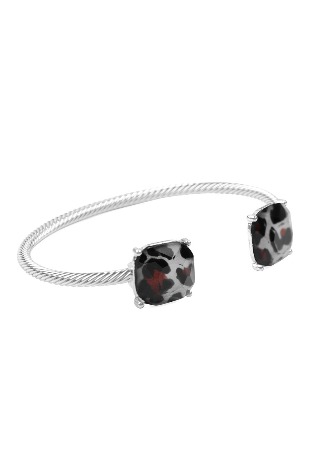 Riah Fashion Twisted-Wire-Leopard Cuff Bracelet - Front Full Image