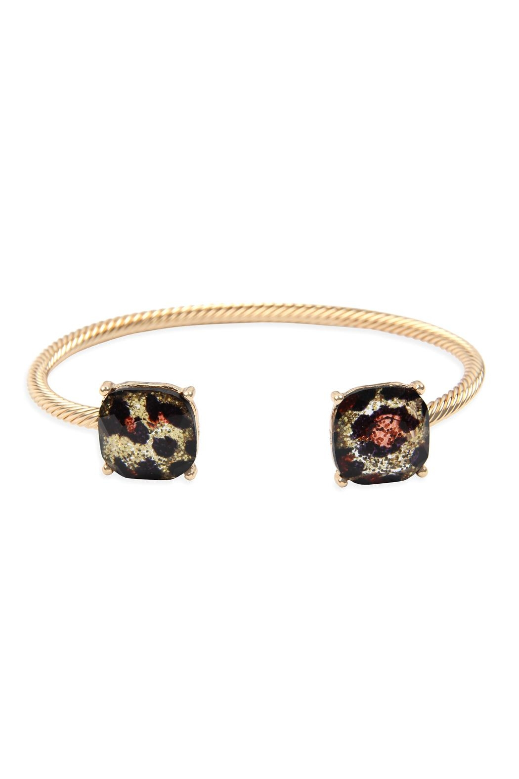 Riah Fashion Twisted-Wire-Leopard Cuff Bracelet - Front Cropped Image