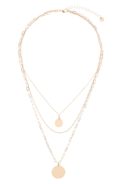 Riah Fashion Two Coins Layered Chain Necklace - Alternate List Image
