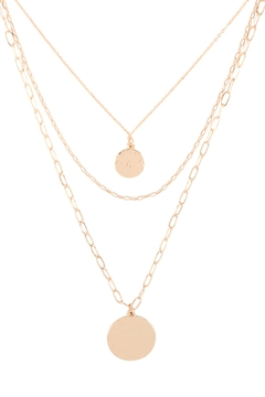 Riah Fashion Two Coins Layered Chain Necklace - Product List Image