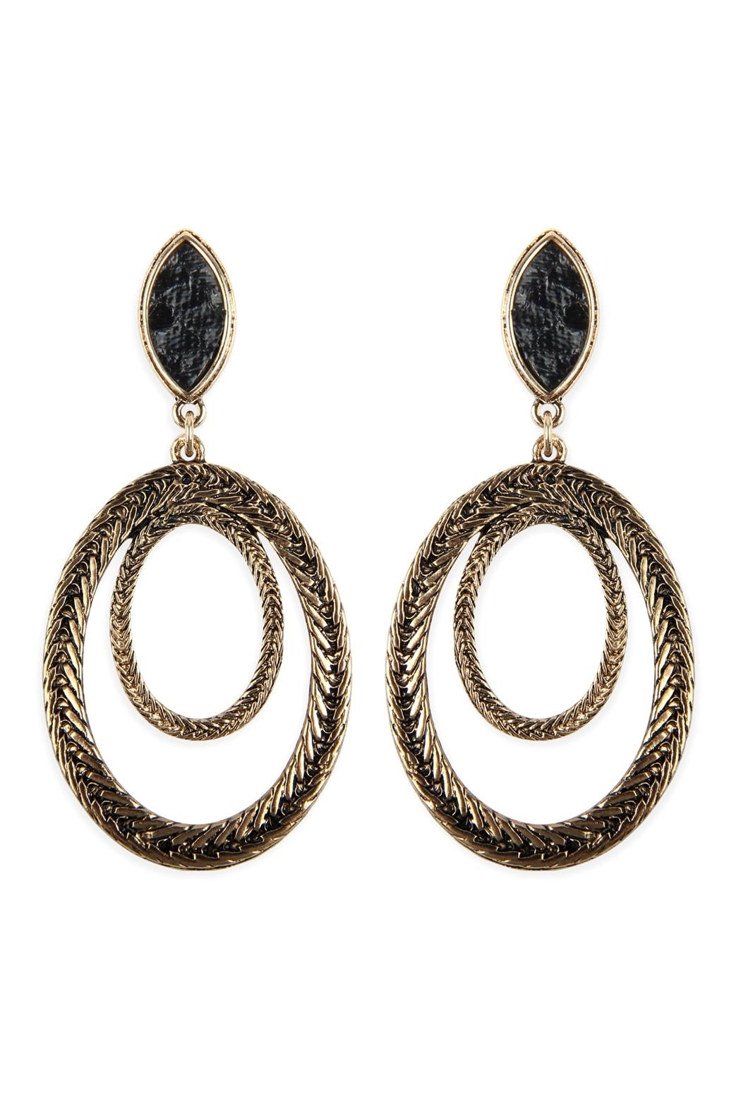 Riah Fashion Two-Layer-Oval-Textured-Post-Dangle-Earrings - Main Image