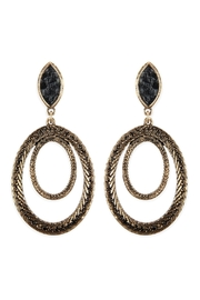 Riah Fashion Two-Layer-Oval-Textured-Post-Dangle-Earrings - Front cropped