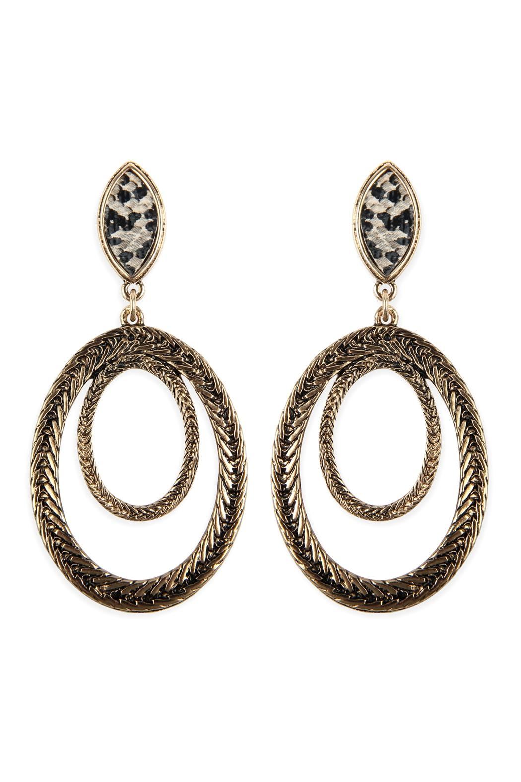Riah Fashion Two-Layer-Oval-Textured-Post-Dangle-Earrings - Front Cropped Image