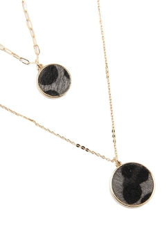 Riah Fashion Two Layered Leopard Print Pendant Necklace Set - Product List Image