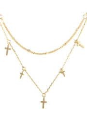 Riah Fashion Two Layered Necklace-With-Cross - Product Mini Image