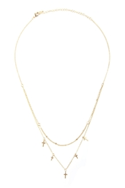 Riah Fashion Two Layered Necklace-With-Cross - Front full body