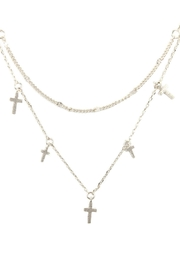 Riah Fashion Two Layered Necklace-With-Cross - Front cropped