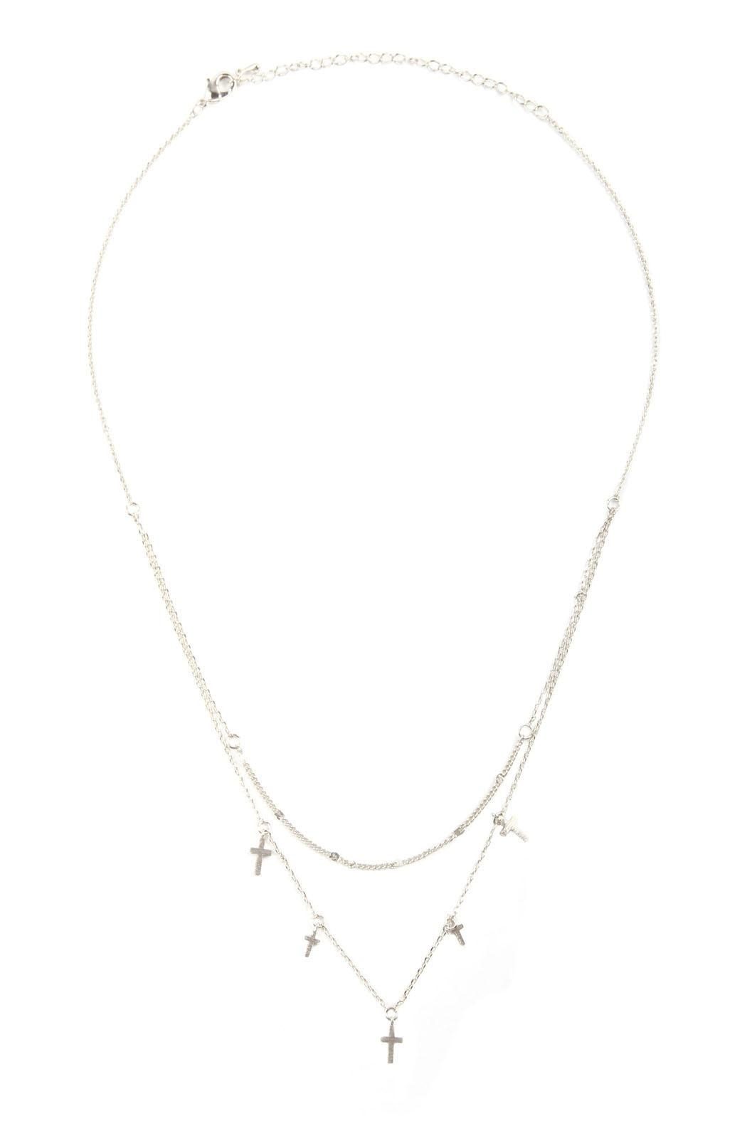 Riah Fashion Two Layered Necklace-With-Cross - Front Full Image