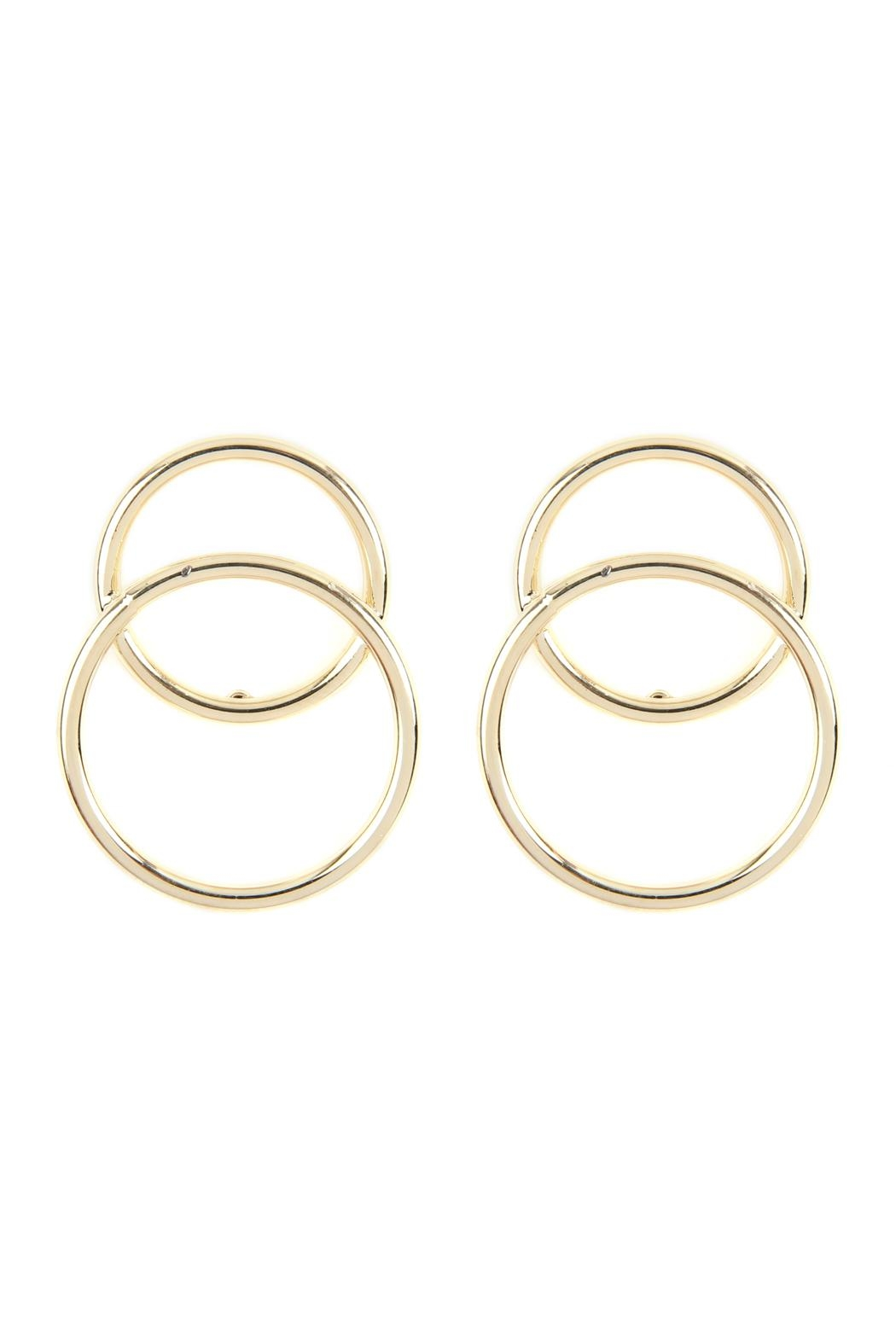 Riah Fashion Two-Open Ring Over-Wrap-Earrings - Main Image
