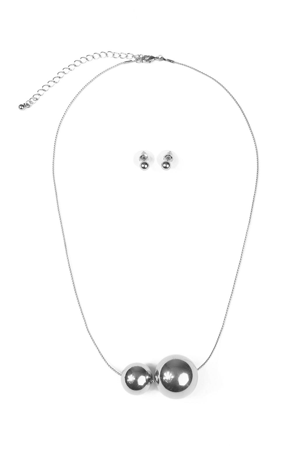 Riah Fashion Two Round Decor Necklace - Front Cropped Image