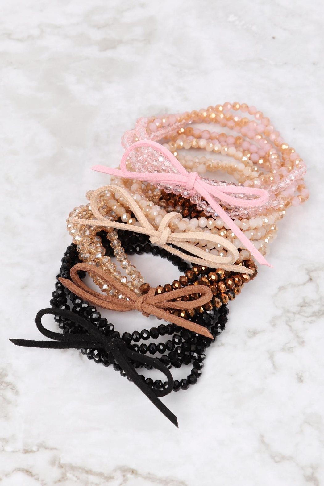 Riah Fashion Two Tone Beaded Bracelet With Leather Ribbon Charm - Front Full Image