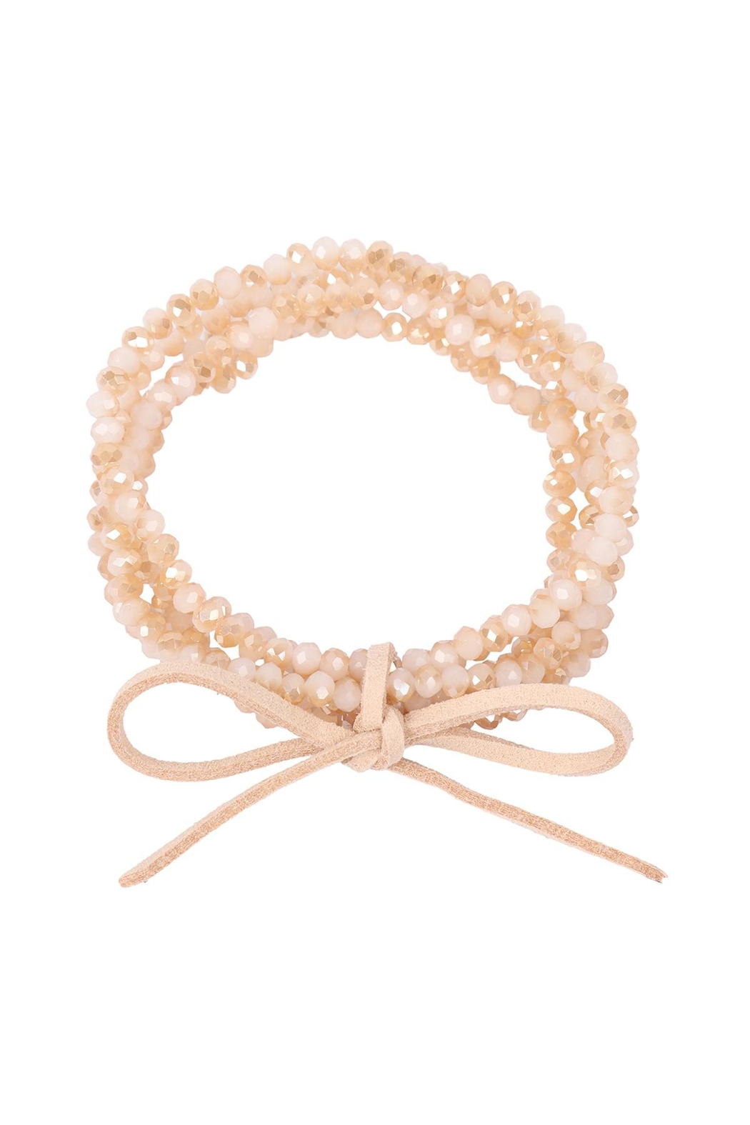 Riah Fashion Two Tone Beaded Bracelet With Leather Ribbon Charm - Front Cropped Image
