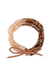 Riah Fashion Two Tone Beaded Bracelet With Leather Ribbon Charm - Front cropped