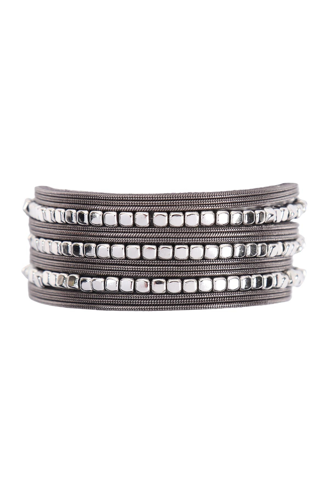 Riah Fashion Two-Tone-Charm-Magnetic-Lock-Bracelet - Front Cropped Image