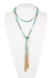 Riah Fashion Two-Tone Glass-Beads Long-Necklace - Product Mini Image