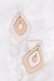 Riah Fashion Two-Tone-Hammerred-Marquise-Shape-Earrings - Front full body