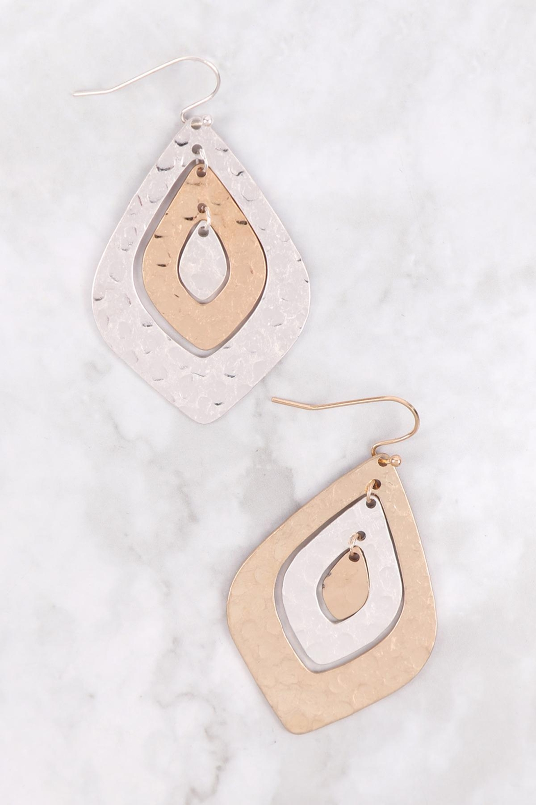 Riah Fashion Two-Tone-Hammerred-Marquise-Shape-Earrings - Front Full Image