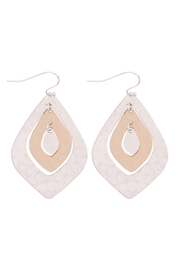 Riah Fashion Two-Tone-Hammerred-Marquise-Shape-Earrings - Front cropped