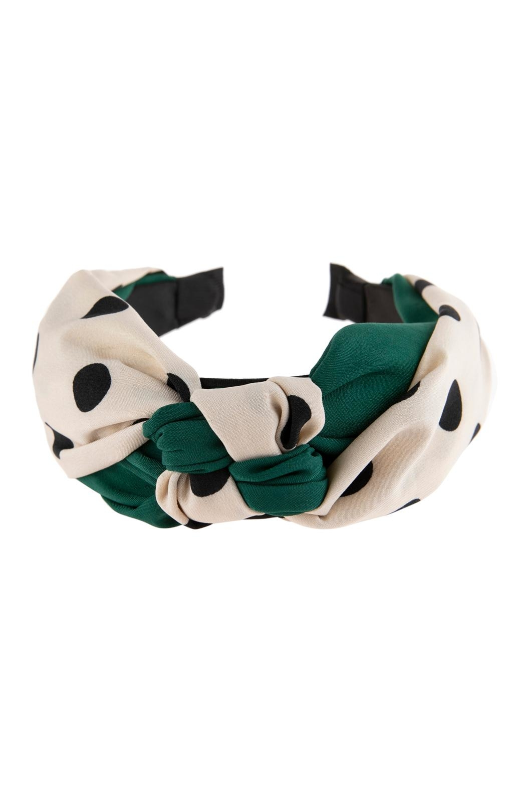 Riah Fashion Two Tone Polka-Dots-Knotted-Fabric-Headband - Front Cropped Image