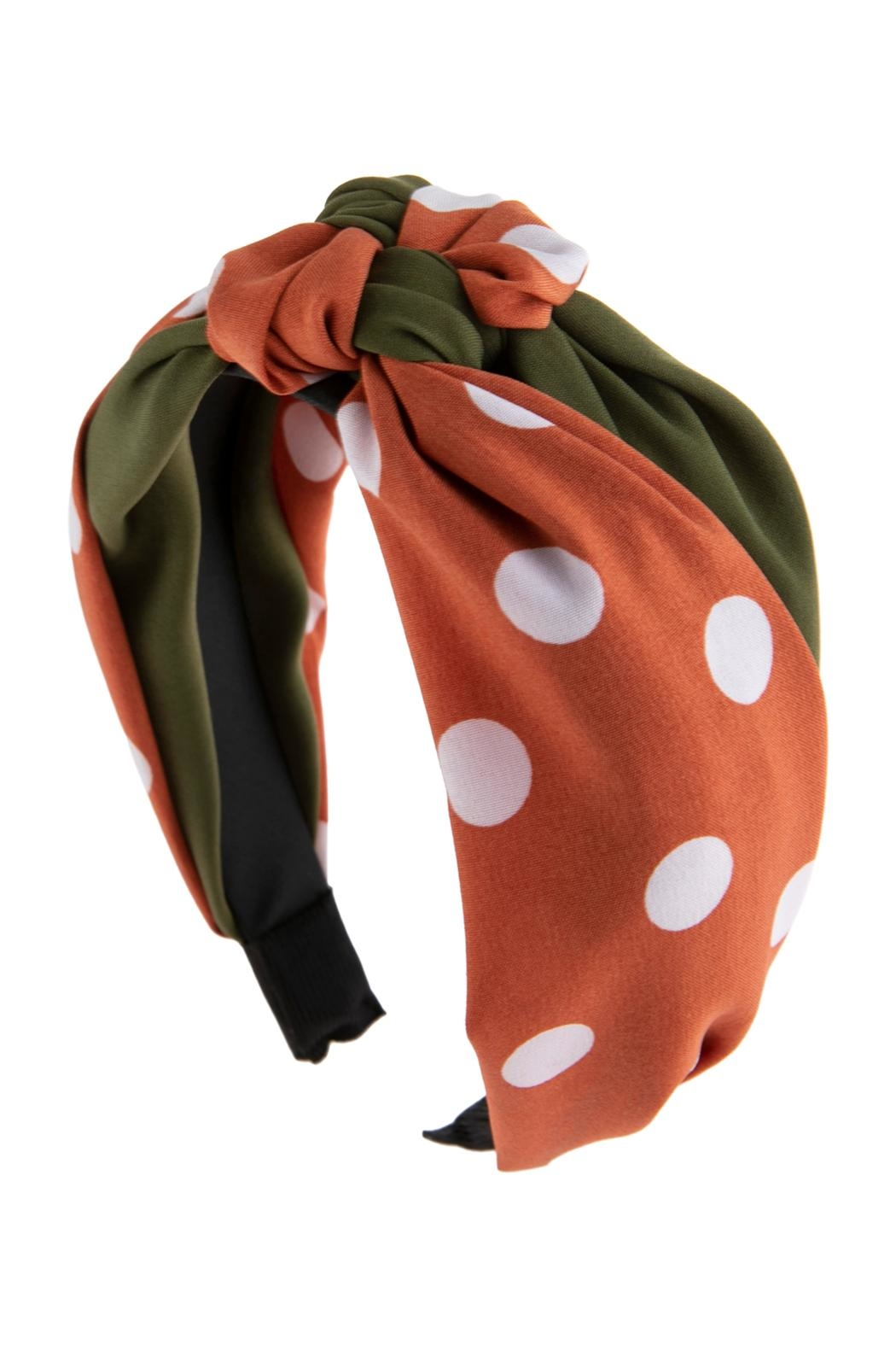 Riah Fashion Two Tone Polka-Dots-Knotted-Fabric-Headband - Front Full Image