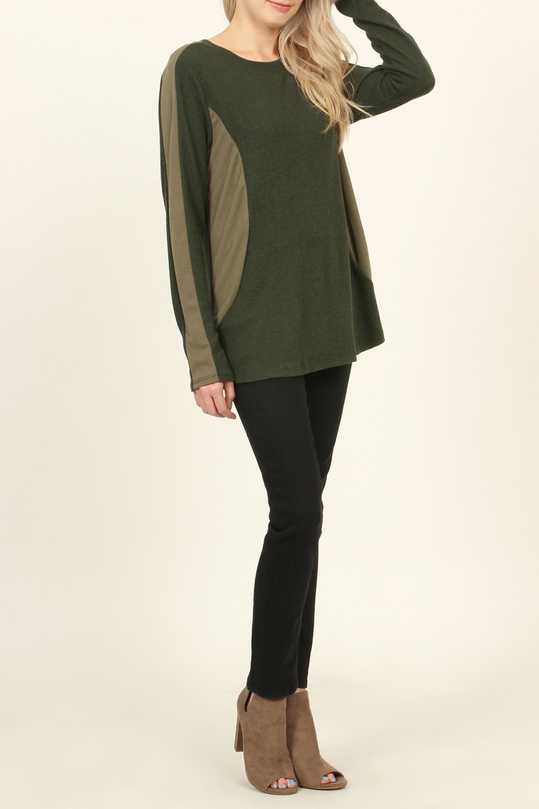 Riah Fashion Two-Tone-Side & Sleeve-Accented-Sweater - Side Cropped Image