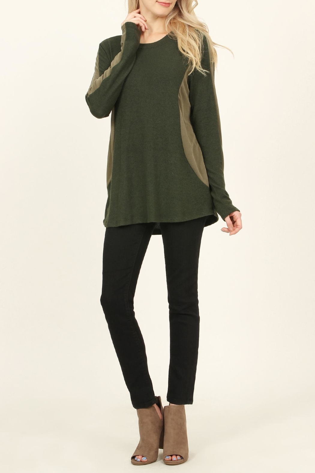 Riah Fashion Two-Tone-Side & Sleeve-Accented-Sweater - Main Image
