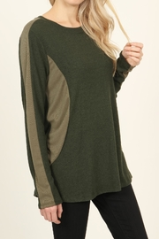Riah Fashion Two-Tone-Side & Sleeve-Accented-Sweater - Back cropped