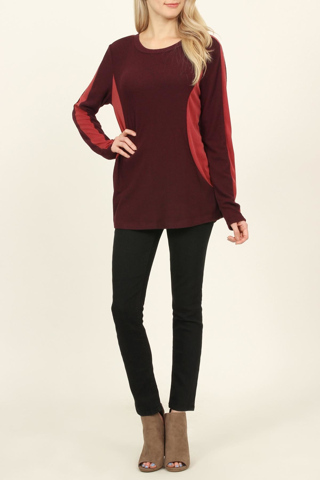 Riah Fashion Two-Tone-Side & Sleeve-Accented-Sweater - Front Cropped Image