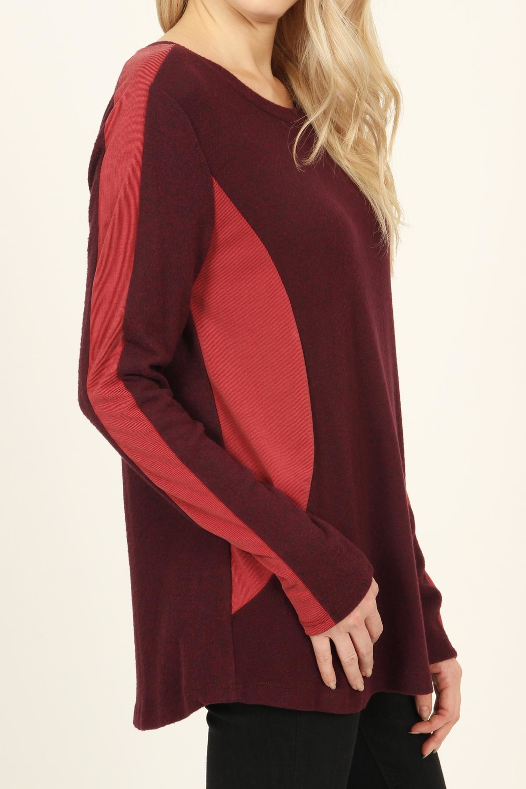 Riah Fashion Two-Tone-Side & Sleeve-Accented-Sweater - Back Cropped Image