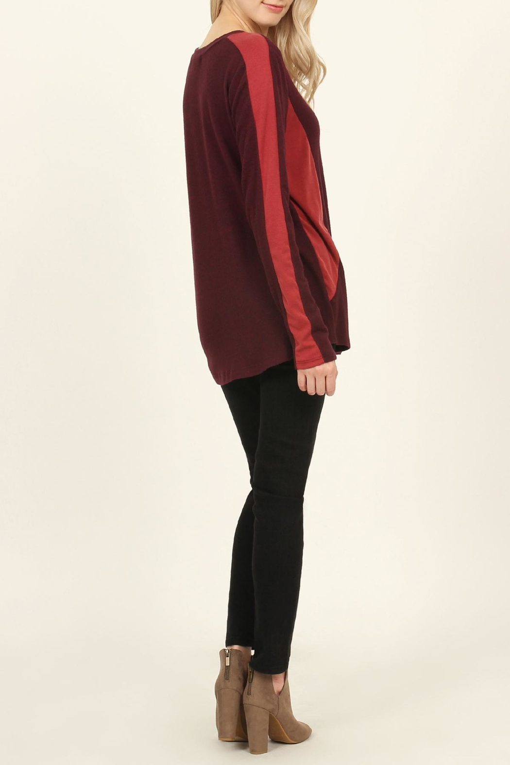 Riah Fashion Two-Tone-Side & Sleeve-Accented-Sweater - Front Full Image