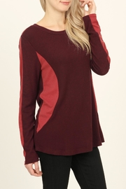 Riah Fashion Two-Tone-Side & Sleeve-Accented-Sweater - Side cropped