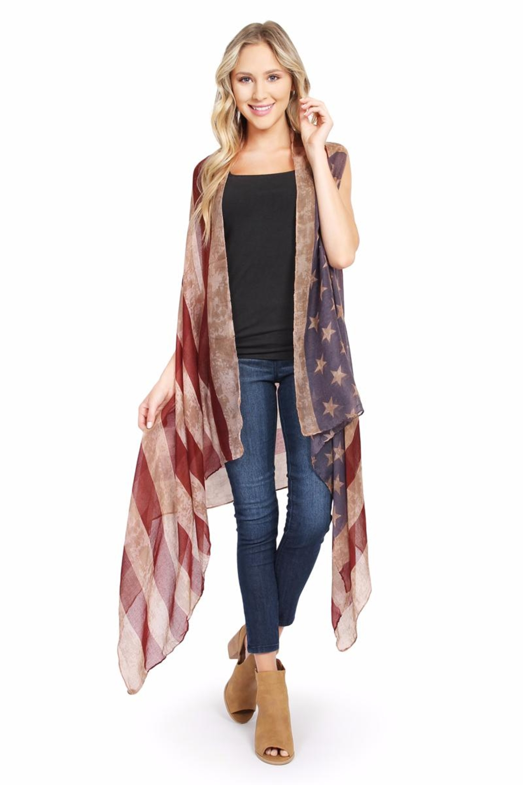 Riah Fashion U.S. Flag Sheer-Cardigan from California — Shoptiques