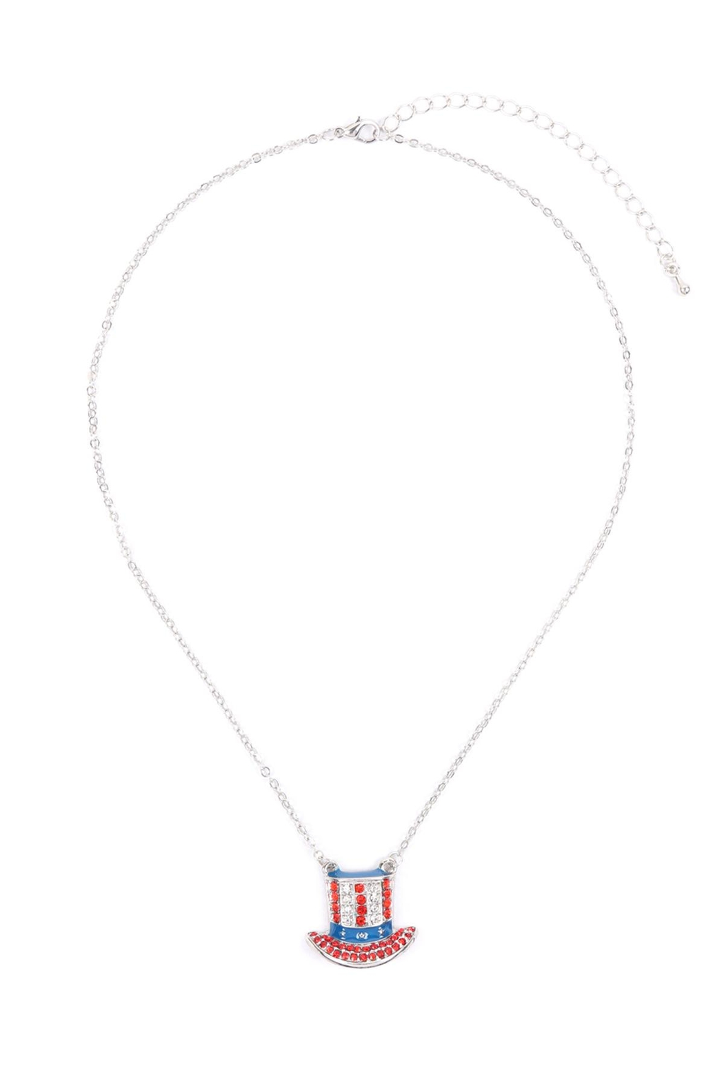 Riah Fashion Uncle-Sam-Hat-American-Flag-Necklace - Side Cropped Image