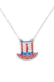 Riah Fashion Uncle-Sam-Hat-American-Flag-Necklace - Front cropped