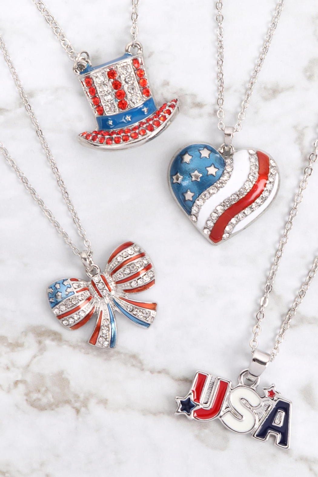 Riah Fashion Uncle-Sam-Hat-American-Flag-Necklace - Back Cropped Image