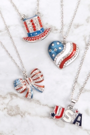 Riah Fashion Uncle-Sam-Hat-American-Flag-Necklace - Back cropped