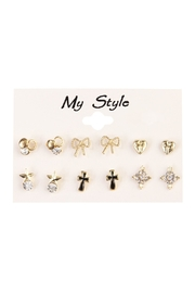 Riah Fashion Unique Six Piece Stud Set - Product Mini Image