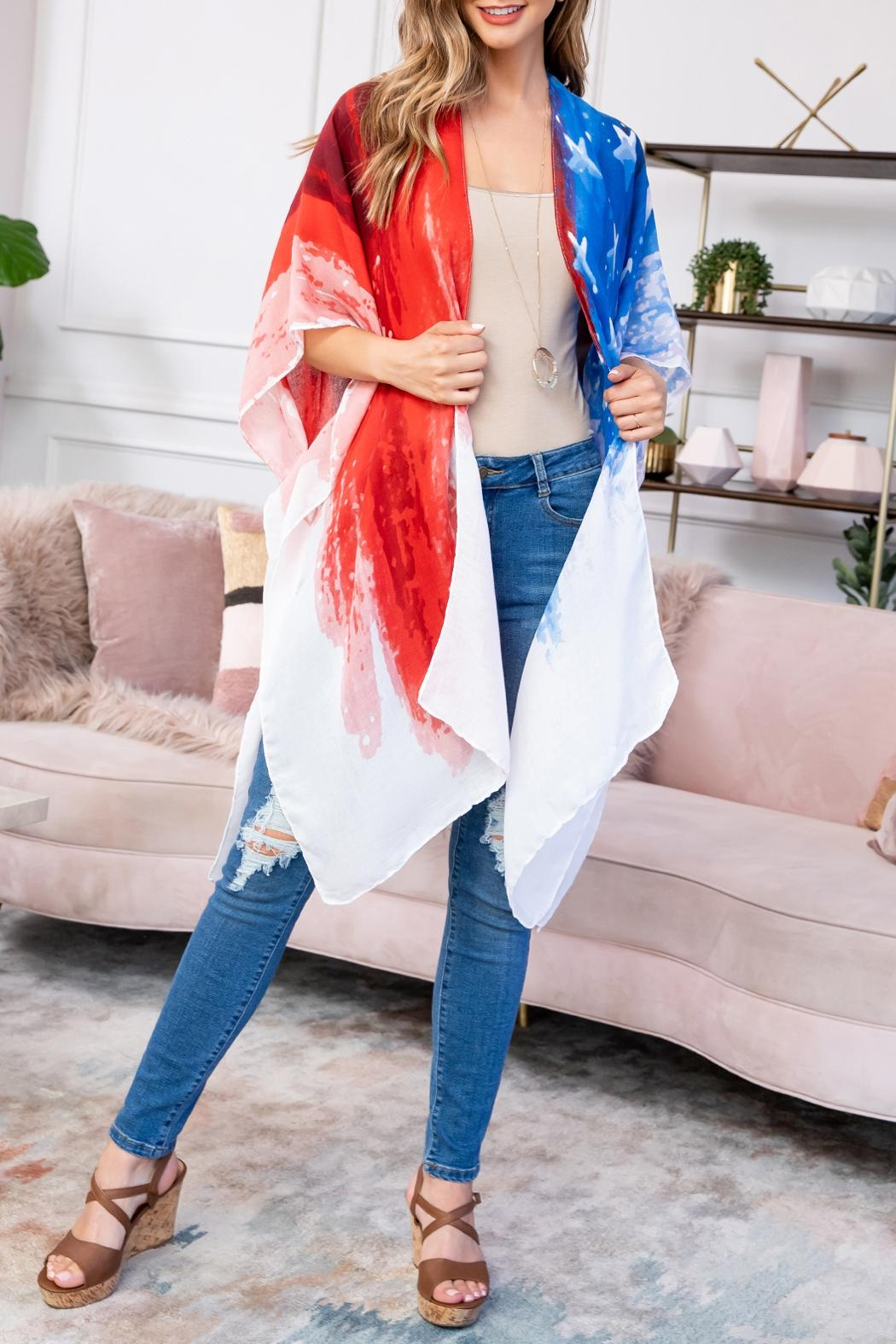 Riah Fashion Usa-Accent-Knee-Length-Open-Front-Kimono - Front Full Image