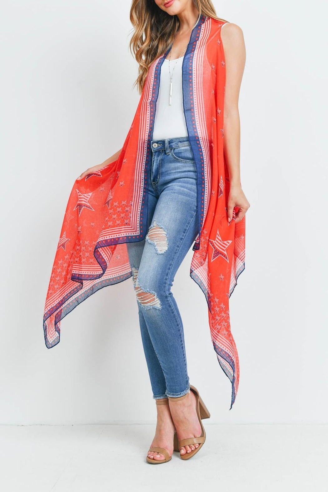 Riah Fashion Usa-Accent-Star-Open-Front-Kimono-Vest - Side Cropped Image