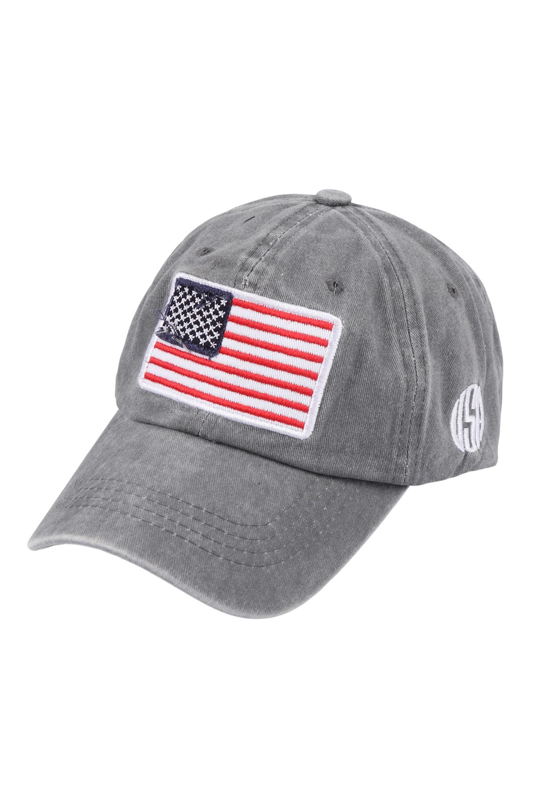 Riah Fashion Usa-American-Flag-Fashion-Embroiedered-Baseball-Cap - Front Cropped Image