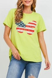 Riah Fashion Usa-Butterfly-Print-Top- Lime - Product Mini Image