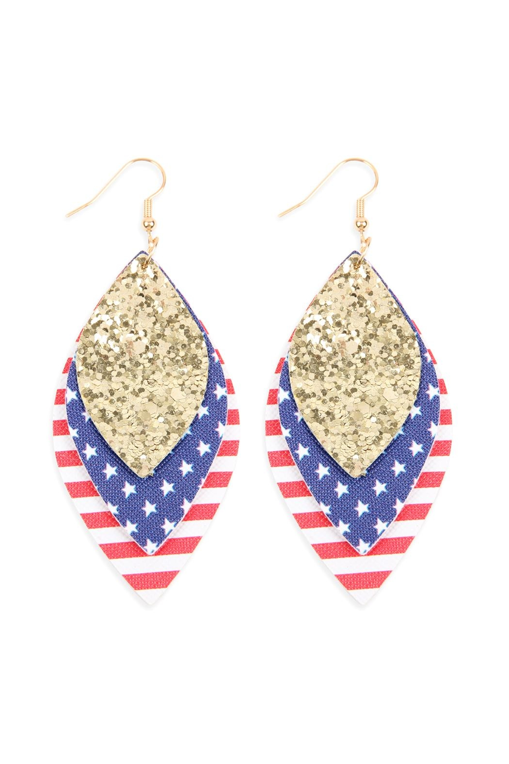 Riah Fashion Usa-Flag-With-Sequin Marquise-Layered Leather-Drop-Earrings - Main Image