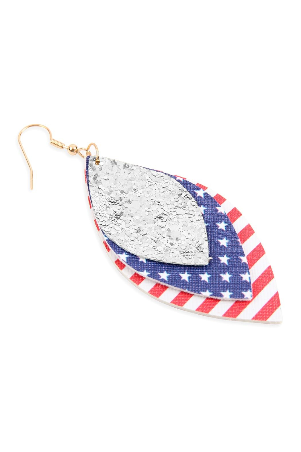 Riah Fashion Usa-Flag-With-Sequin Marquise-Layered Leather-Drop-Earrings - Front Full Image