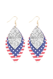 Riah Fashion Usa-Flag-With-Sequin Marquise-Layered Leather-Drop-Earrings - Front cropped