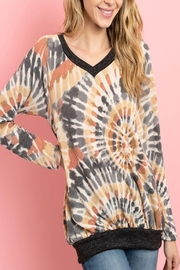 Riah Fashion V-Neck-Band-And-Hem-Contrast-Tie-Dye-Top - Product Mini Image