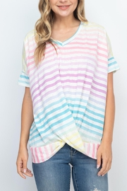Riah Fashion V-Neck-Dolman-Sleeves-Ombre-Stripes-Knot-Top - Product Mini Image