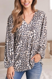 Riah Fashion V-Neck-Puff-Sleeve-Leopard-Top - Other